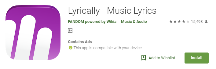 Lyrically: Best Lyrics Apps for Android
