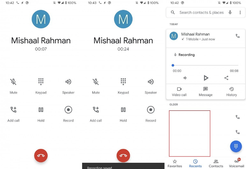Here is the first glimpse of the Google Phone App's call recording feature on the Pixel 4