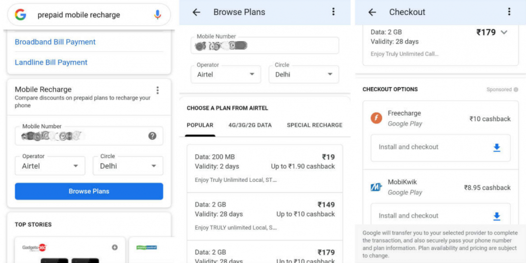 You can now recharge your prepaid SIM on Google Search