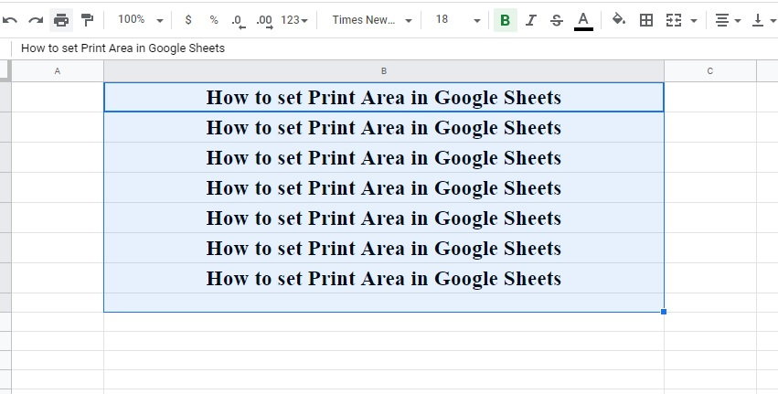 How to Set Print Area in Google Sheets